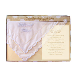 Front view of our Matron of Honor Handkerchief Gift Set