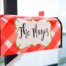 Lifestyle view of our Red Gingham Mailbox Cover