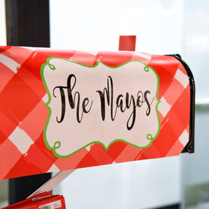 Lifestyle image of our Gingham Pattern Mailbox Cover