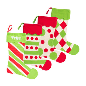 Monogrammed view of our Holiday Pattern Stockings