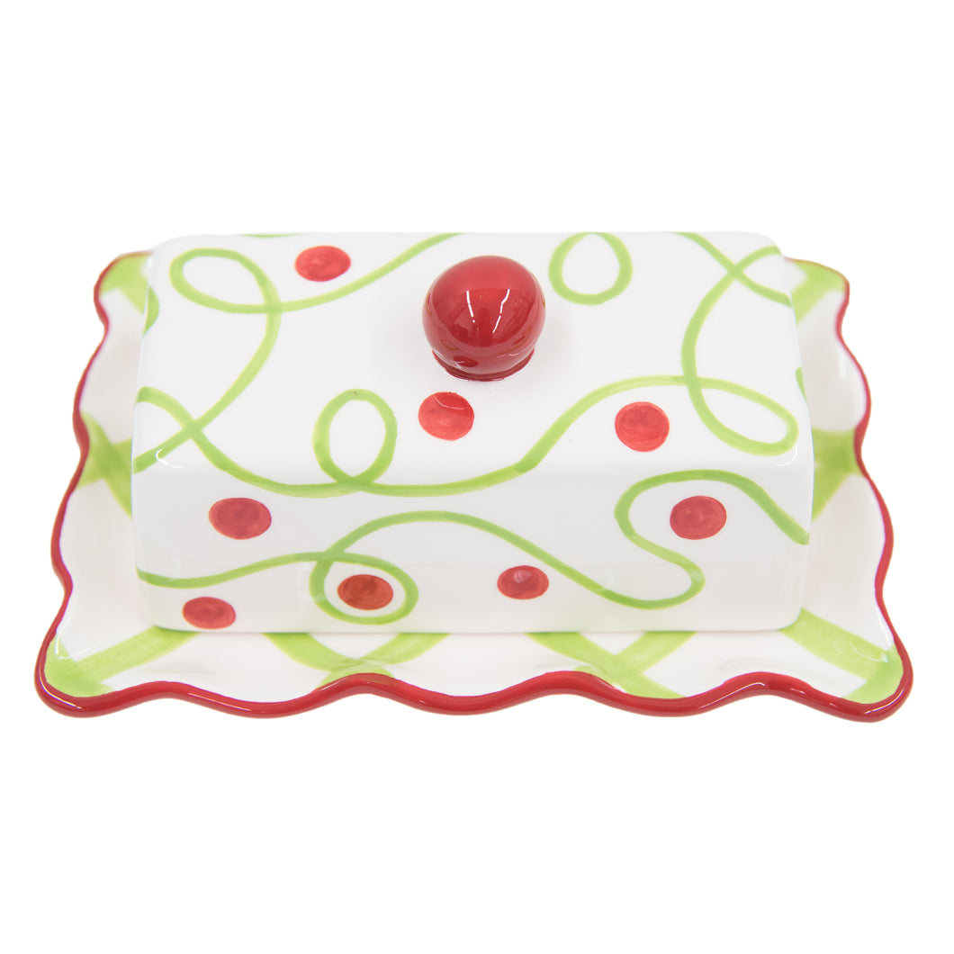 Ceramic Holiday Butter Dish