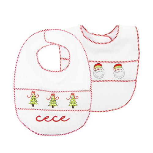 Monogrammed view of our Holiday Smocked Bib