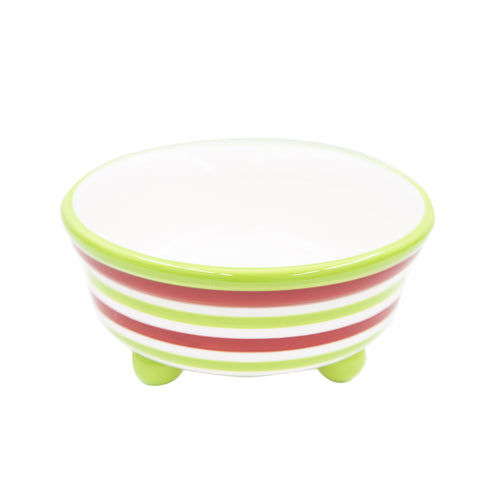 Holiday Ceramic Stripe Candy Bowl