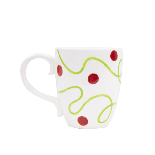 Set of 4 Holiday Ceramic Swirl Coffee Mug