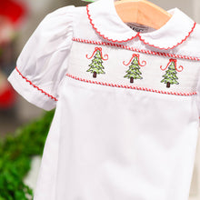 Load image into Gallery viewer, Lifestyle view of our Girl Christmas Tree Holiday Baby Smocked Day Gown