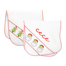 Monogrammed view of our Holiday Smocked Burp Cloth