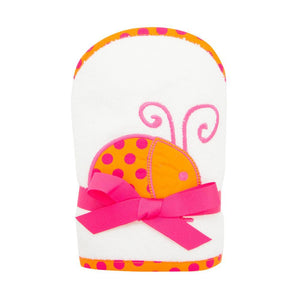 Front view of our Orange Ladybug Girl Hooded Towel