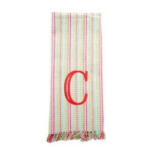 Monogrammed view of our Holiday Multi Stripe Fringe Dish Towel