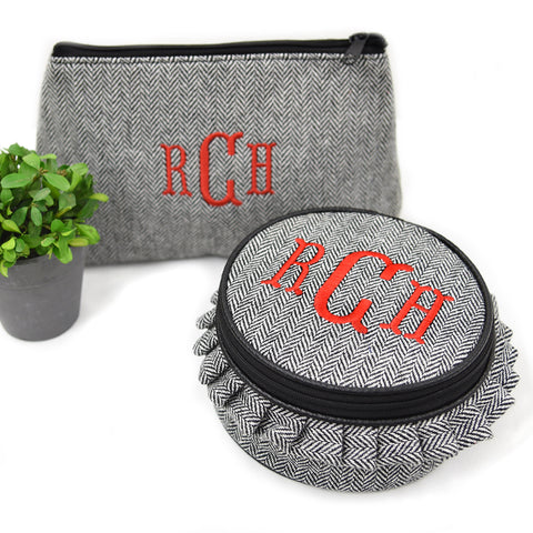 Herringbone Cosmetic Zip Pouch