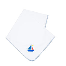 Load image into Gallery viewer, Front view of our Green Sailboat Boy Icon Blanket