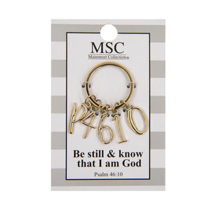 Front view of our Psalms 46:10 Charm Keychain