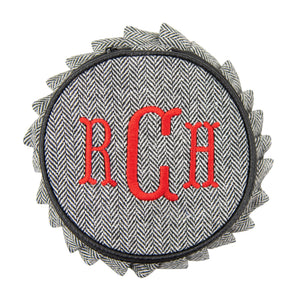 Monogrammed view of our Herringbone Jewelry Round