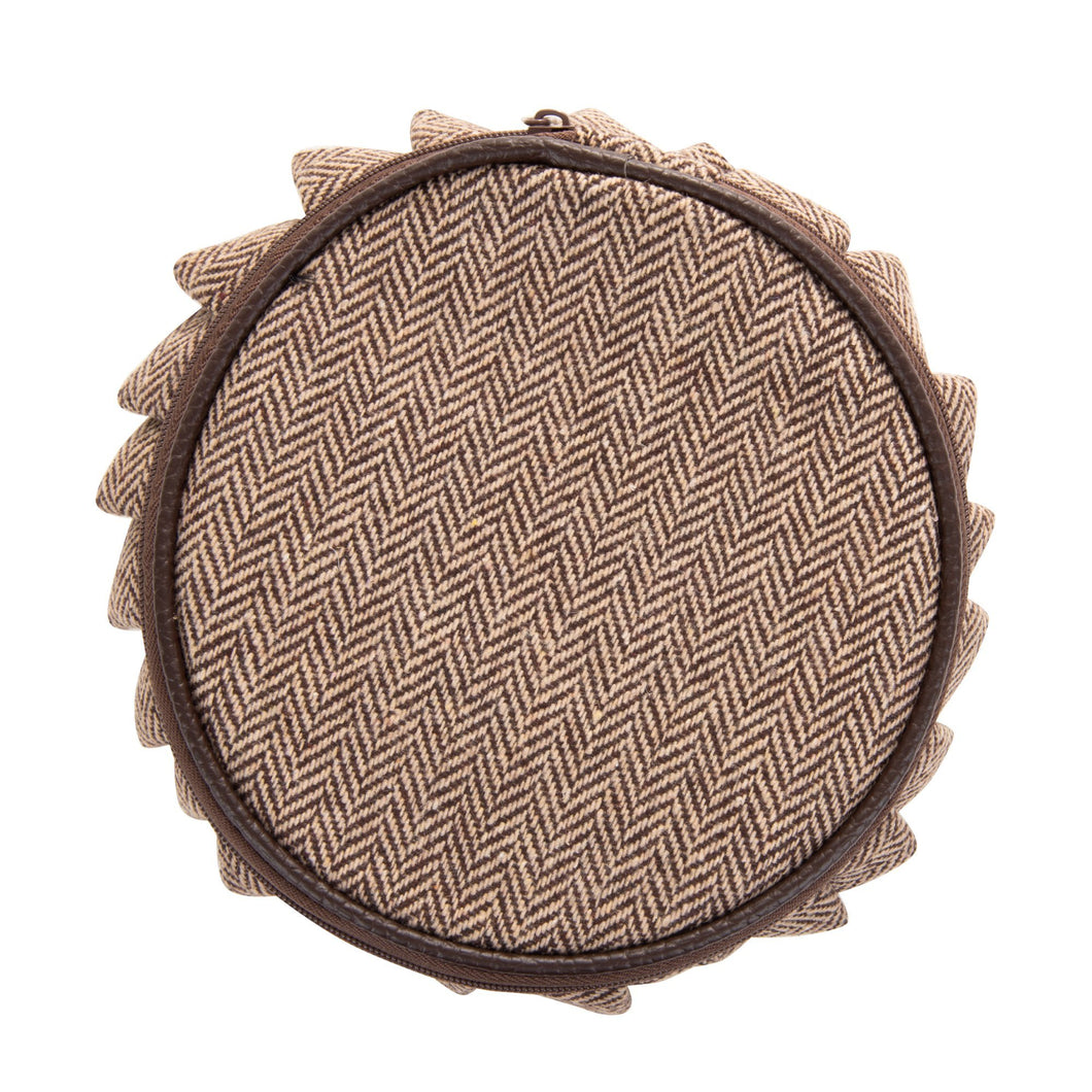 Top view of our Brown Herringbone Jewelry Round