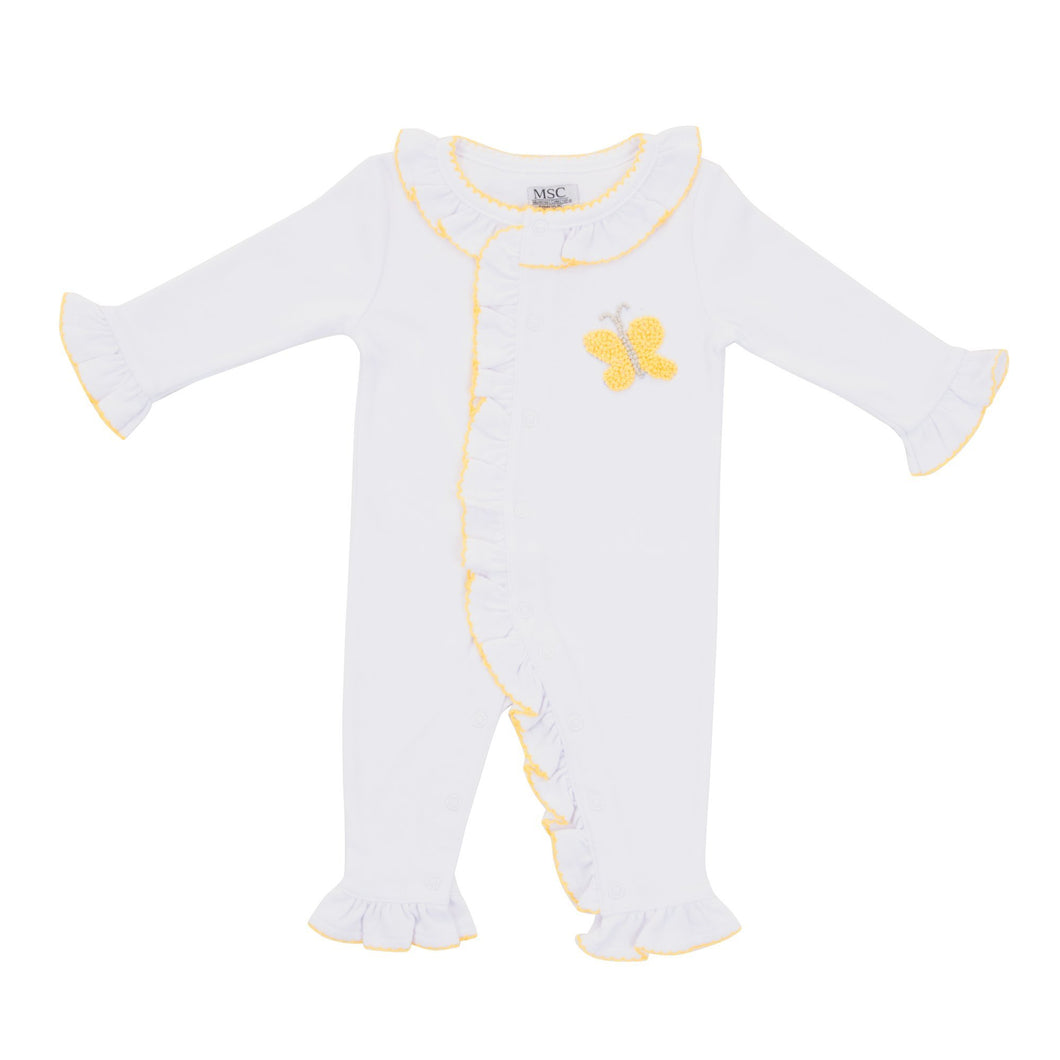 Front view of our Yellow Butterfly French Knot Convertible Onesie