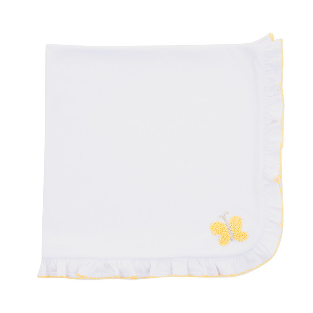 Front view of our Yellow Butterfly French Knot Blanket