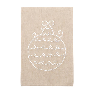 Front view of our Bow Ornament Holiday Knot Linen Icon Towel