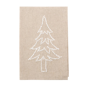Front view of our Christmas Tree Holiday Knot Linen Icon Towel