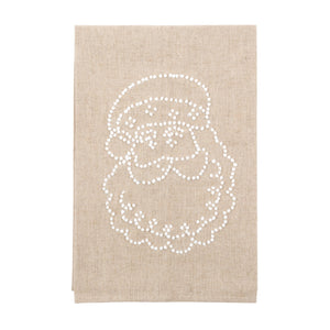Front view of our Jolly Santa Holiday Knot Linen Icon Towel