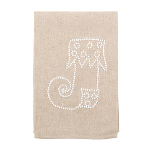 Front view of our Whimsical Stocking Holiday Knot Linen Icon Towel