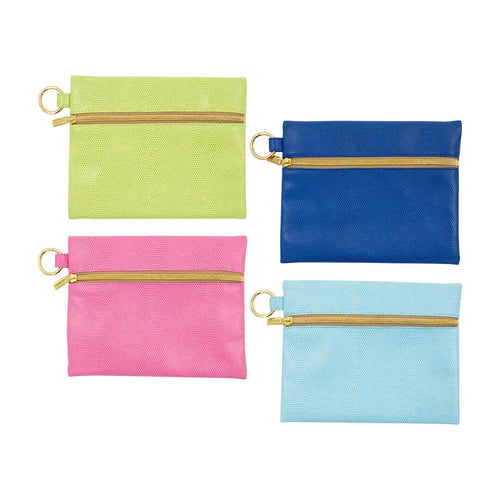 Front view of all 4 of our Lizard Kansas Pouches, Green, Navy, Pink, Turquoise