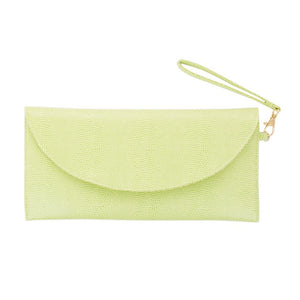 Front view of our Green Lizard Foldover Clutch