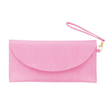 Front view of our Pink Lizard Foldover Clutch