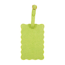 Load image into Gallery viewer, Front view of our Green Lizard Scallop Luggage Tag