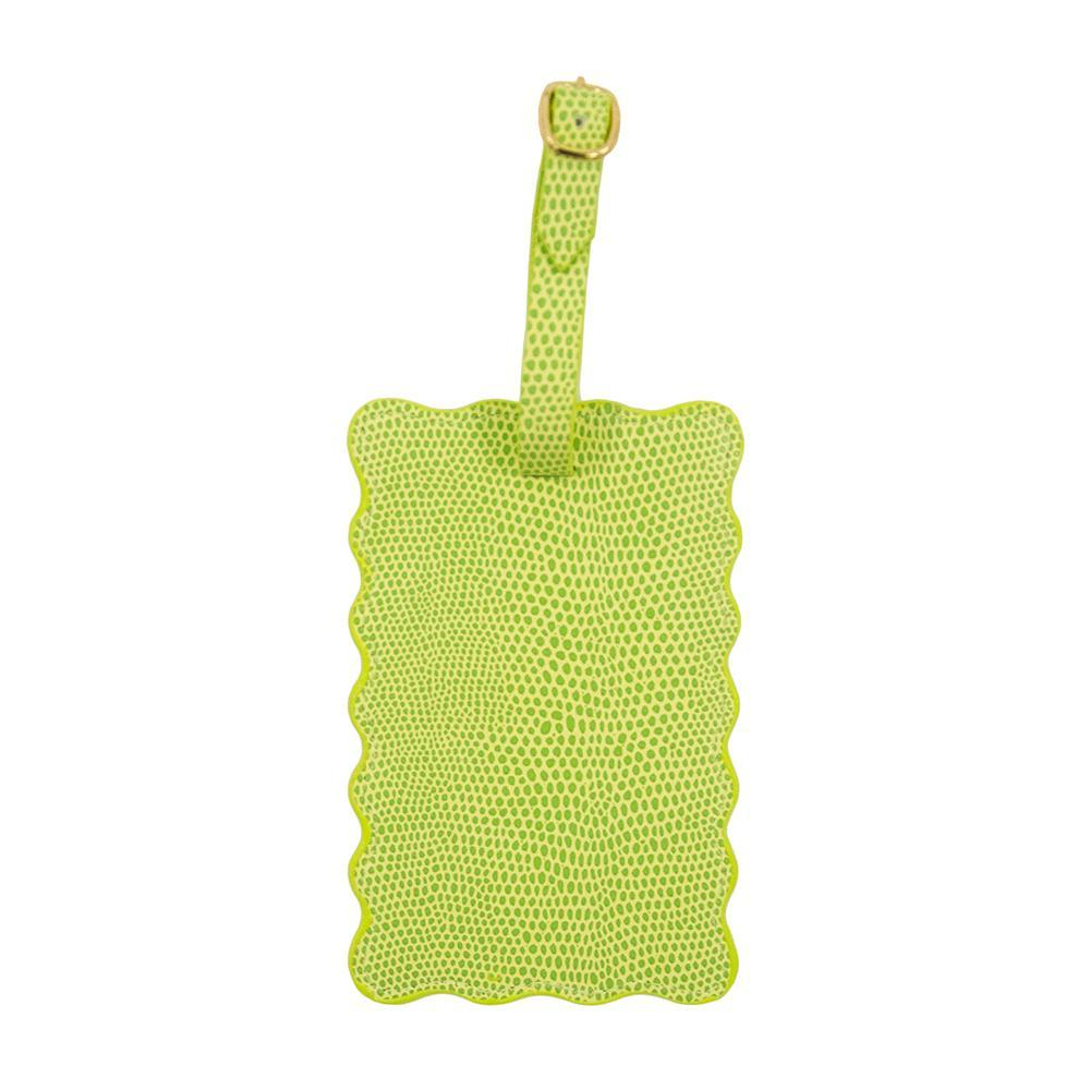 Front view of our Green Lizard Scallop Luggage Tag