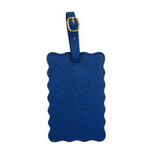 Load image into Gallery viewer, Front view of our Navy Lizard Scallop Luggage Tag