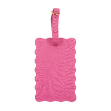 Load image into Gallery viewer, Front view of our Pink Lizard Scallop Luggage Tag