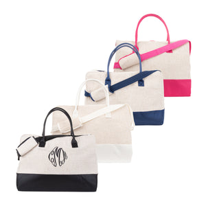 Our Monogrammed Linen Duffle Bags