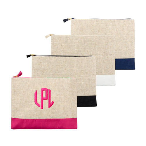 Our Monogrammed Linen Zipper Pouches