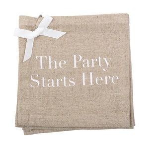"""The Party Starts Here"" Linen Cocktail Napkins"
