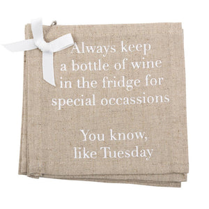 """Special Occasions"" Linen Cocktail Napkins"