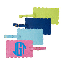 Load image into Gallery viewer, Front view of all 4 of our Lizard Scallop Luggage Tags