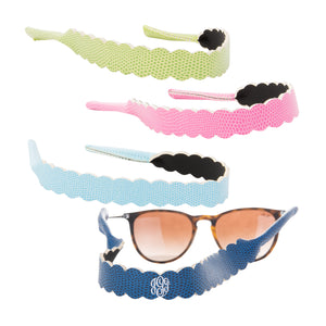 Front view of all 4 of our Lizard Scallop Sunglass Straps
