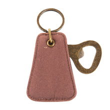 Load image into Gallery viewer, Front view of our Mocha Canvas Bottle opener Keychain