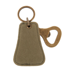 Front view of our Forrest Canvas Bottle opener Keychain