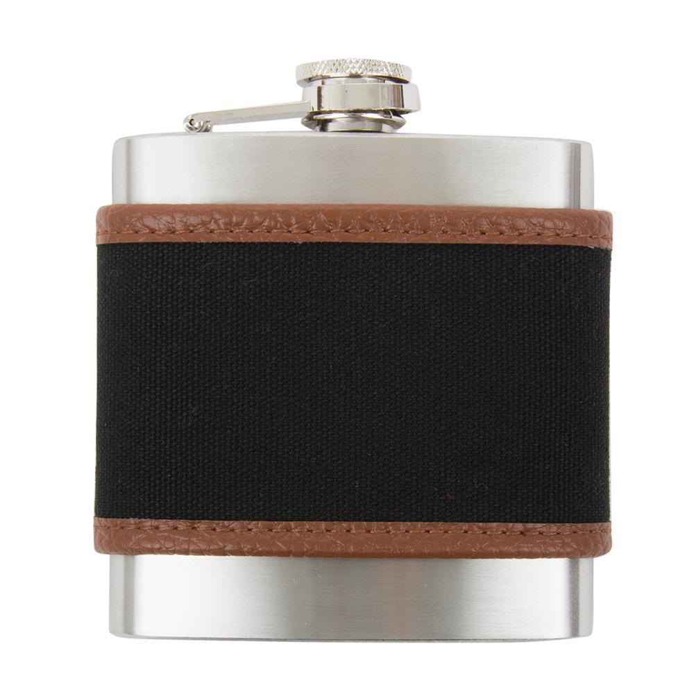 Front view of our Black Men's Canvas Flask