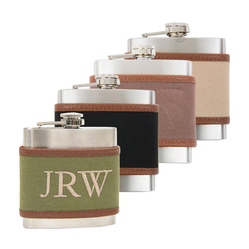 Monogrammed view of our Men's Canvas Flasks