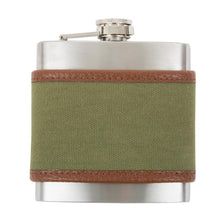 Load image into Gallery viewer, Front view of our Forest Men's Canvas Flask