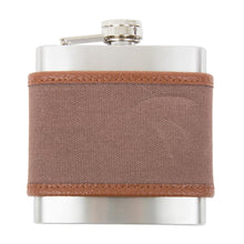 Load image into Gallery viewer, Front view of our Mocha Men's Canvas Flask