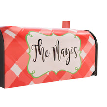 Monogrammed view of our Gingham Mailbox Cover