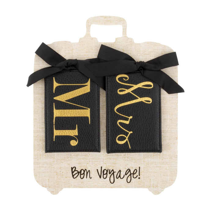 Front view of our Mr. Mrs Luggage Tags