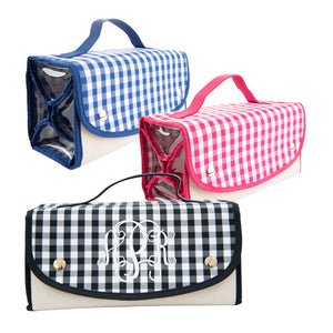 View of our Monogrammed Gingham Roll Up Cosmetic Bags