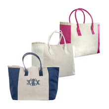 Load image into Gallery viewer, Front view of our Monogrammed Linen Ruffle Weekender Totes