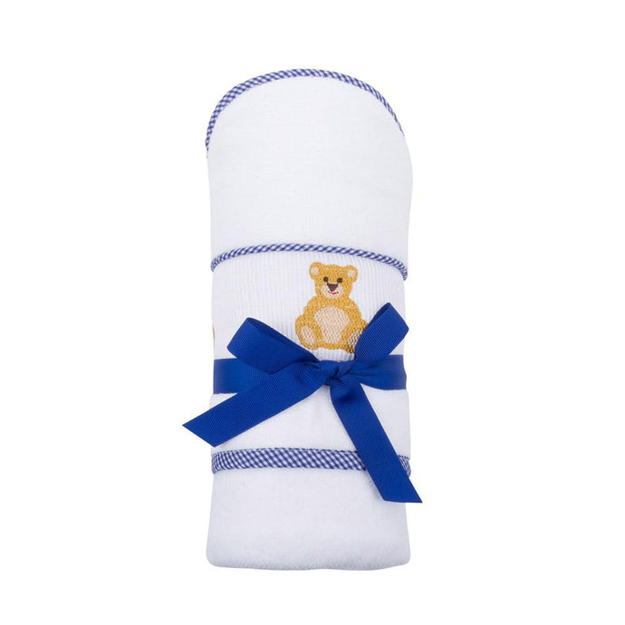 Navy Bear Smocked Baby Hooded Towel