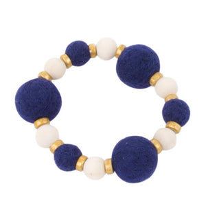 Front view of our Navy Felt Bead Bracelet