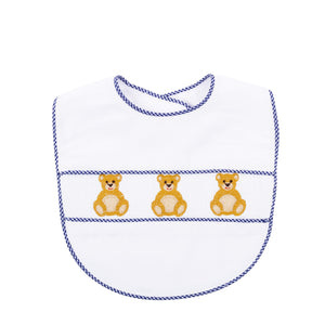 Our Navy Bear Smocked Baby Bib