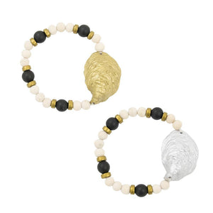 Front view of our Oyster Shell Bracelets